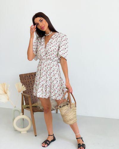 Платье в цветочный принт - белое Lilove