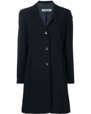 Шерстяное черное длинное пальто с капюшоном Jil Sander Pre-owned