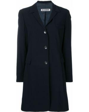 Коралловое шерстяное длинное пальто узкого кроя на пуговицах Jil Sander Pre-owned