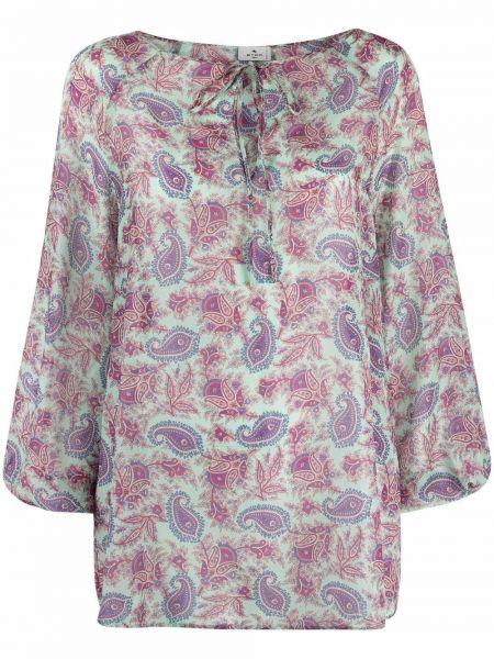 Хлопковая блузка с V-образным вырезом с принтом Etro