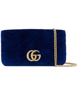 Niebieska kopertówka skórzana Gucci