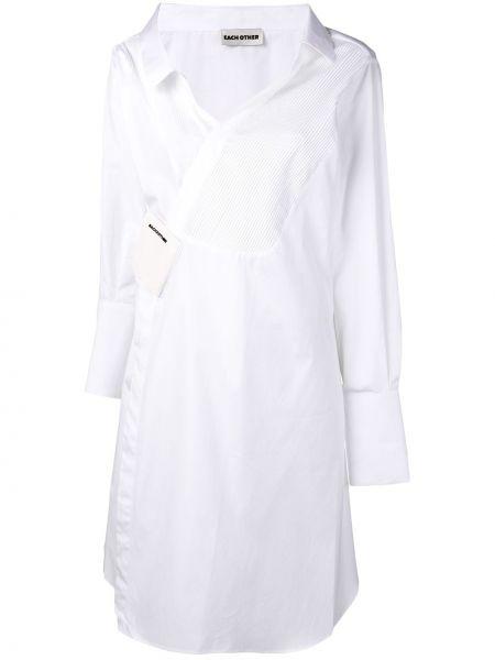Biała sukienka długa kopertowa z długimi rękawami Each X Other
