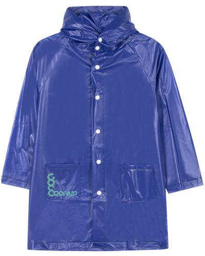 Синий длинный плащ на кнопках с рукавом реглан с капюшоном Coccodrillo