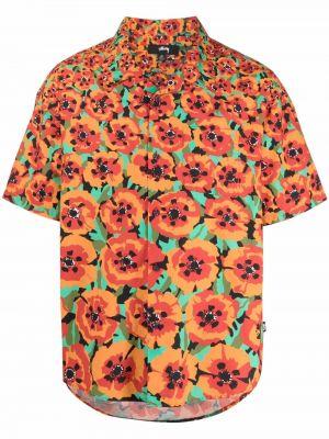 Оранжевая рубашка с коротким рукавом классическая с воротником Stussy
