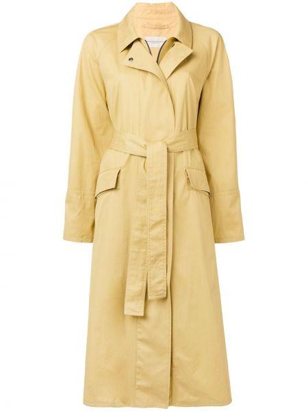 С рукавами желтое пальто с поясом с воротником Holland & Holland