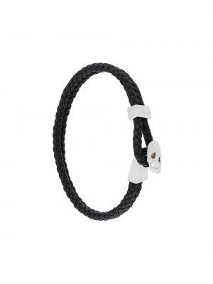 Плетеный кожаный черный плетеный браслет с черепами Northskull
