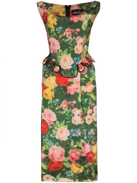 Платье миди с баской с цветочным принтом Richard Quinn