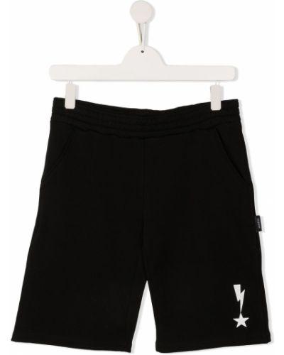 Хлопковые черные шорты с карманами Neil Barrett Kids