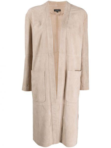 Открытое кожаное длинное пальто с капюшоном Antonelli