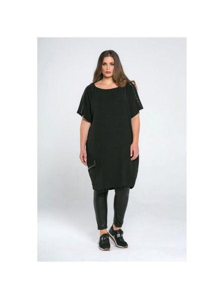Черное прямое платье миди с короткими рукавами круглое Mat Fashion