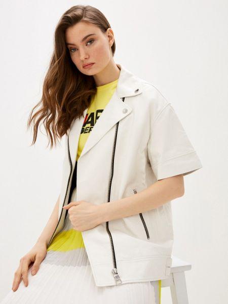 Кожаная куртка весенняя белая Karl Lagerfeld
