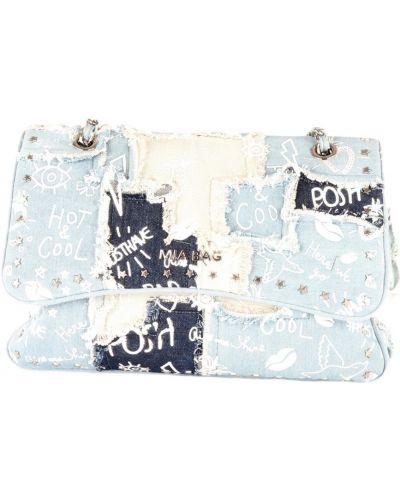Niebieska torebka na łańcuszku z frędzlami na co dzień Mia Bag