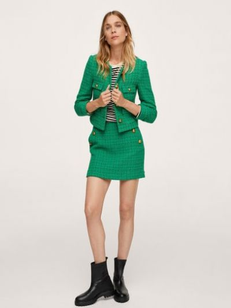 Зеленый пиджак с вырезом Mango