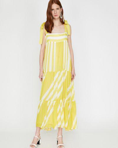 Желтое платье с нашивками Koton