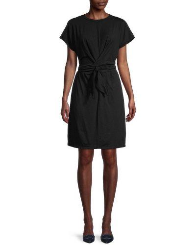 Бархатное черное купальное платье с поясом Velvet