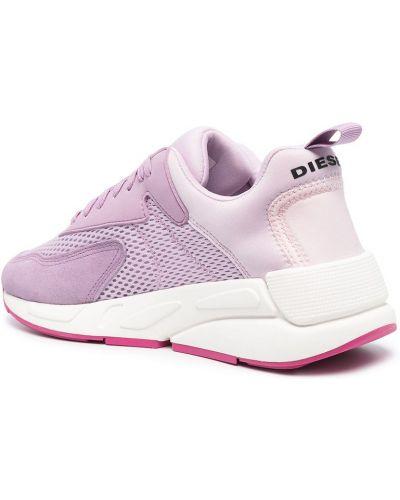 Розовые кроссовки со вставками на шнуровке Diesel