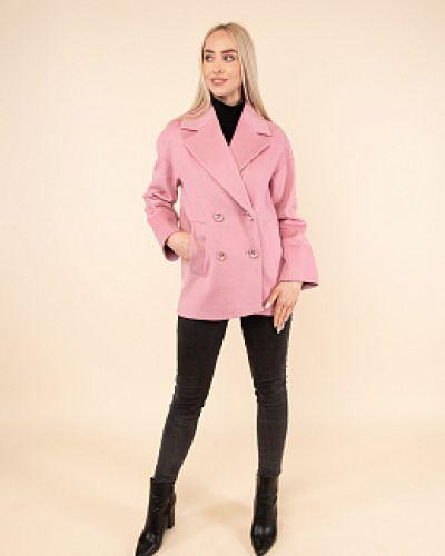 Розовое шерстяное пальто с воротником Avalon