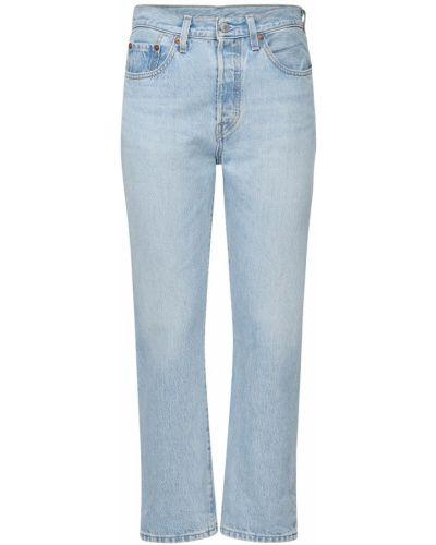 Хлопковые синие укороченные джинсы с карманами Levi's Red Tab