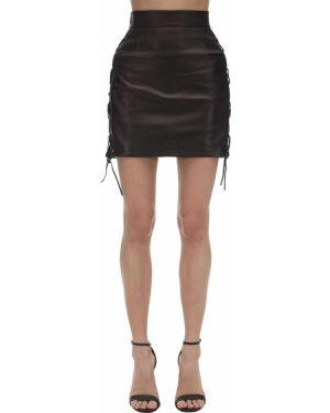 С завышенной талией юбка мини с подкладкой на шнуровке из натуральной кожи Versace