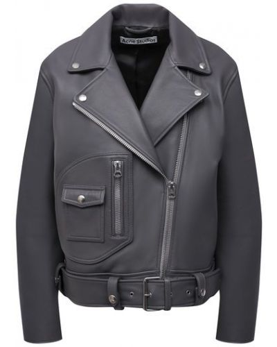 Серая кожаная куртка с подкладкой Acne Studios