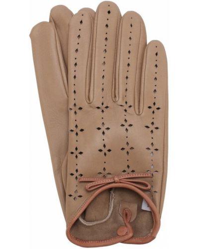 Бежевые кожаные перчатки с перфорацией Agnelle