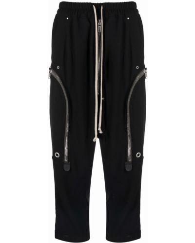 Spodnie z wysokim stanem skorzane - czarne Rick Owens