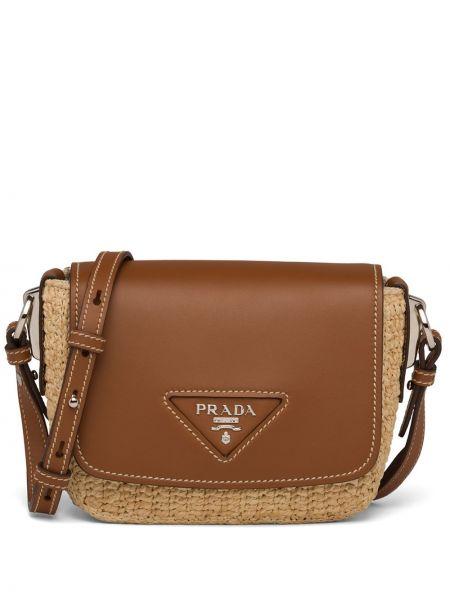Skórzana torebka z logo rama Prada