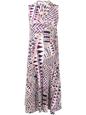 Платье с V-образным вырезом - белое Pleats Please Issey Miyake