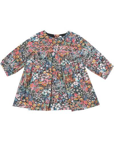 Ватное хлопковое платье в цветочный принт Bonpoint