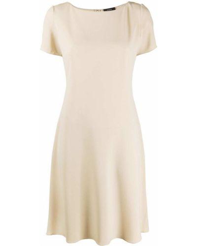 Бежевое платье миди с вырезом на молнии с короткими рукавами Theory
