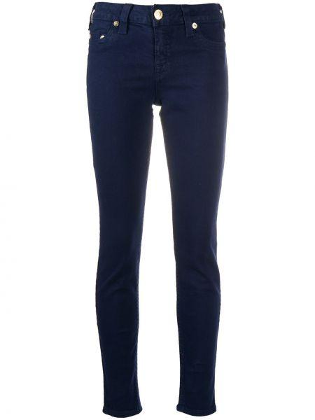 Хлопковые синие облегающие джинсы-скинни на пуговицах True Religion