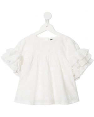 Прямая белая футболка с вышивкой Velveteen