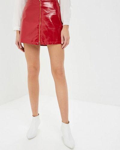 Кожаная юбка итальянский красный Hellen Barrett