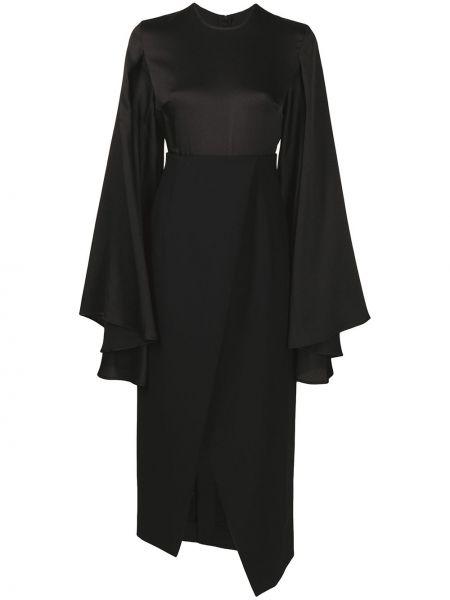 Платье миди на запах - черное Solace London