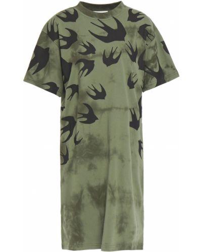 Ватное трикотажное зеленое платье мини Mcq Alexander Mcqueen