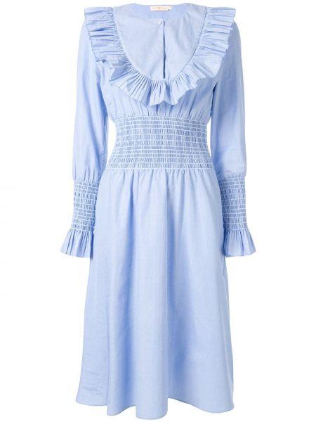 Платье миди на пуговицах с вырезом Tory Burch