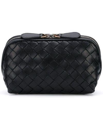 Клатч на молнии черный винтажный Bottega Veneta Pre-owned