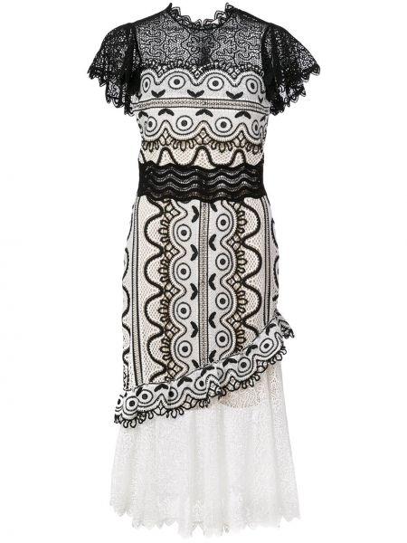 Черное приталенное платье миди на молнии с вырезом Sea