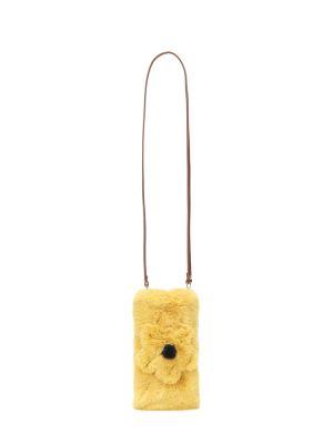 Żółty mini torebka sztuczne futro Il Gufo