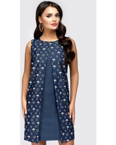 Платье мини весеннее синее 1001dress