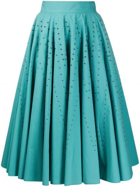 Синяя юбка миди на молнии с поясом в рубчик Bottega Veneta Pre-owned