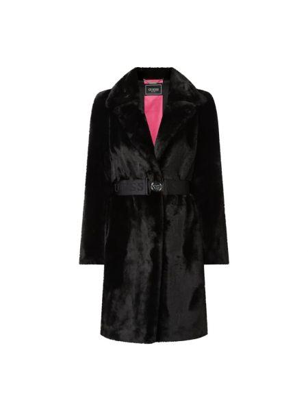 Czarny płaszcz na gumce z kołnierzem z futrem Guess