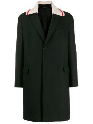 Czarny płaszcz wełniany z długimi rękawami Lanvin