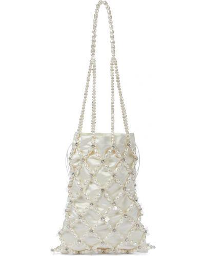 Satynowa biała torba na ramię perły Simone Rocha