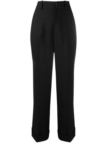 Wełniany czarny spodnie o prostym kroju z paskiem z mankietami Gucci