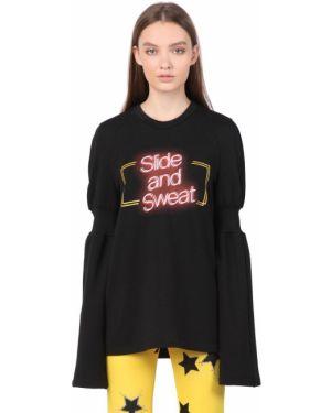 Czarna bluza bawełniana rozkloszowana Simongao