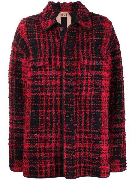 Черная длинная куртка твидовая с воротником с карманами N°21