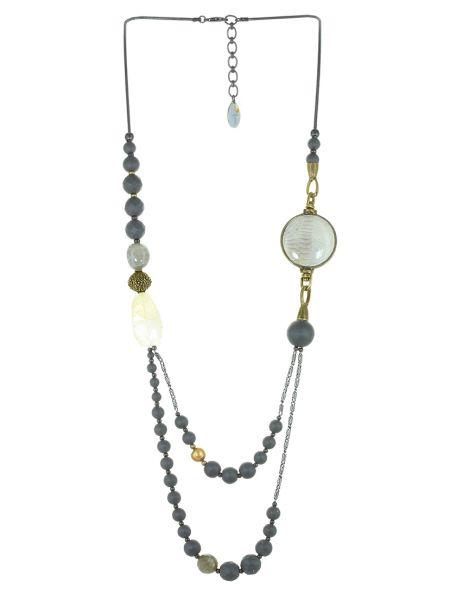 Серое кожаное ожерелье с жемчугом Nature Bijoux