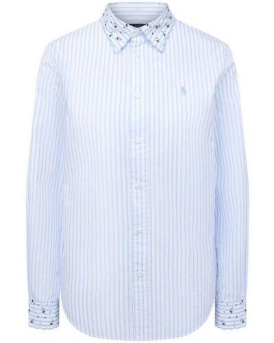 Хлопковая с рукавами белая рубашка Polo Ralph Lauren
