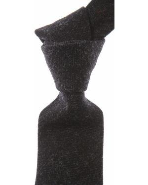 Czarny krawat bawełniany Borrelli